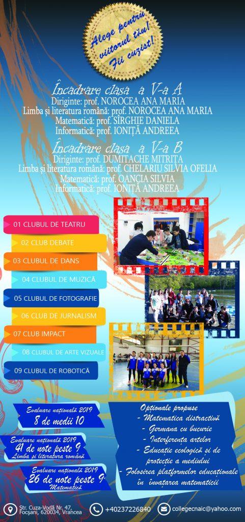 Flyer ofertă scolara - gimnaziu-an scolar 2020-2021-verso