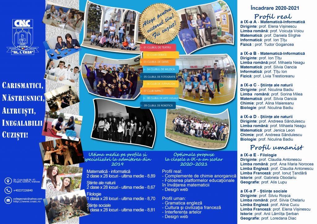 Pliant Ofertă școlara - liceu - an școlar 2020-2021 - interior